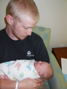 My son and his newborn son, April 2